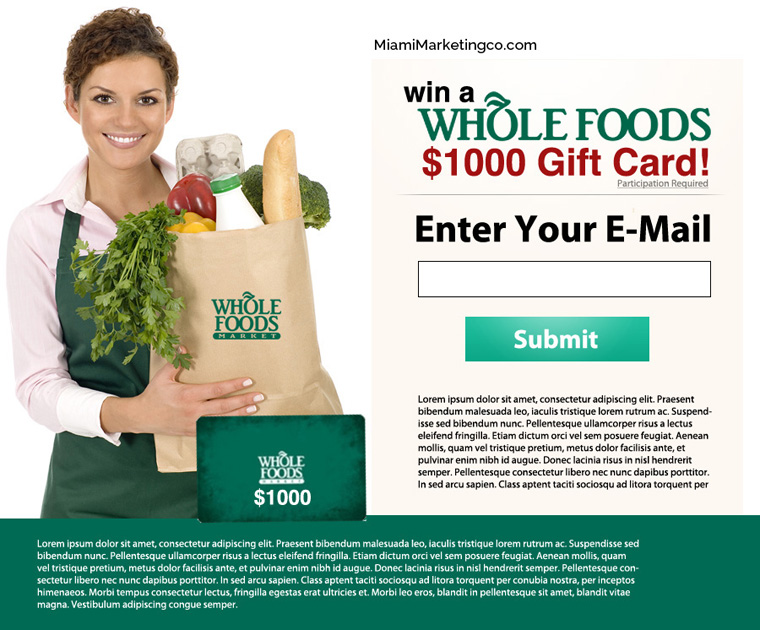 Landing Page Design for Whole Foods