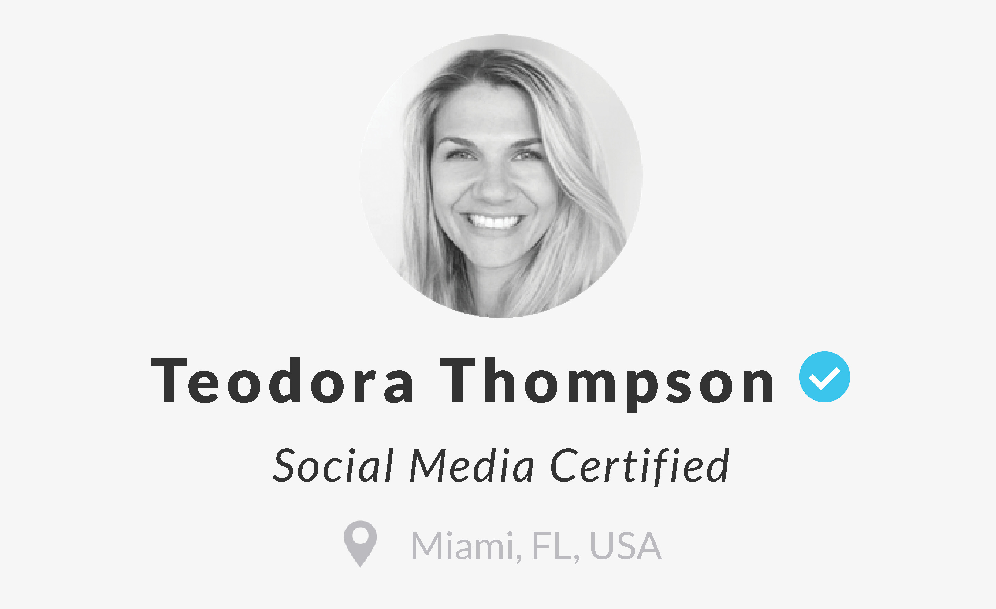 Social Media Certified Teodora Thompson Miami Marketing Co