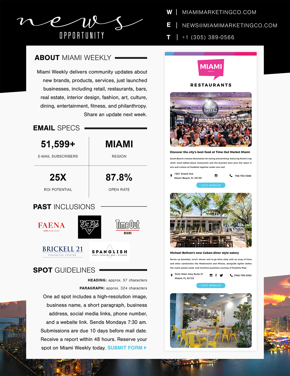 Miami Weekly Advertising Opportunity